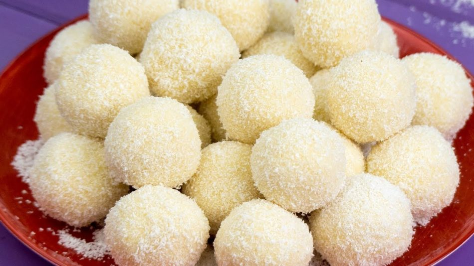 Bombones de chocolate blanco y coco